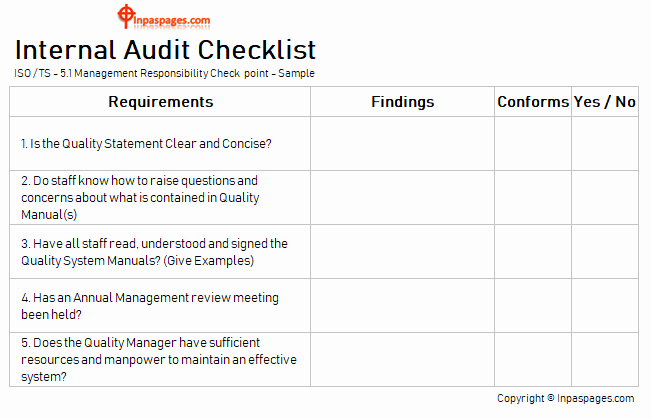 Internal Audit Checklist Template Unique Internal Audit Checklist