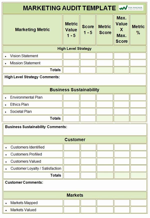 Internal Audit Programme Template Fresh Marketing Audit Template