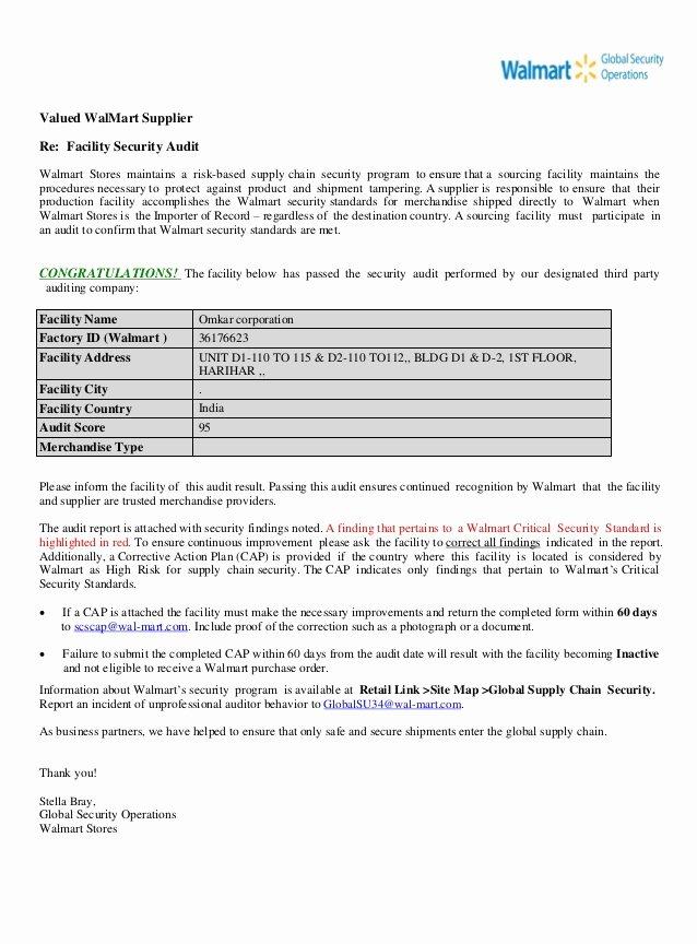 Internal Audit Programme Template Luxury Walmart Ctpat Audit Report 1 Pdf