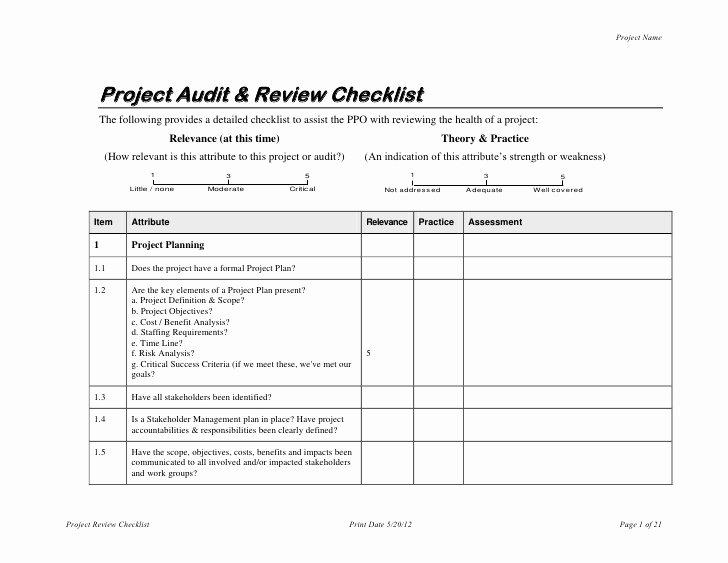 Internal Audit Programme Template Unique Project Audit & Review Checklist