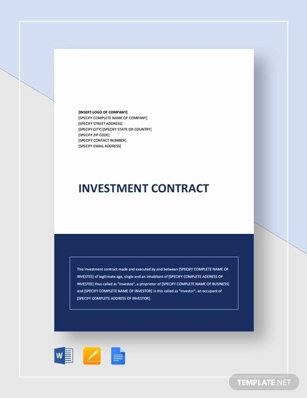 Investment Agreement Template Doc Beautiful 12 Investment Contract Templates Word Pdf Google Docs