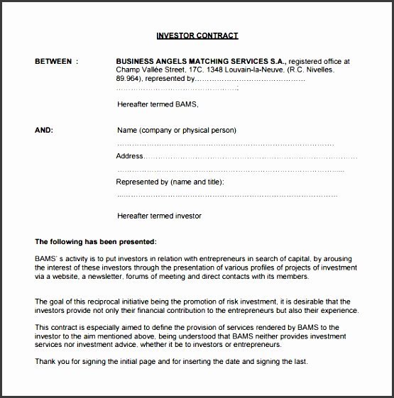 Investment Agreement Template Doc Beautiful 8 Investment Contract Templates Sampletemplatess