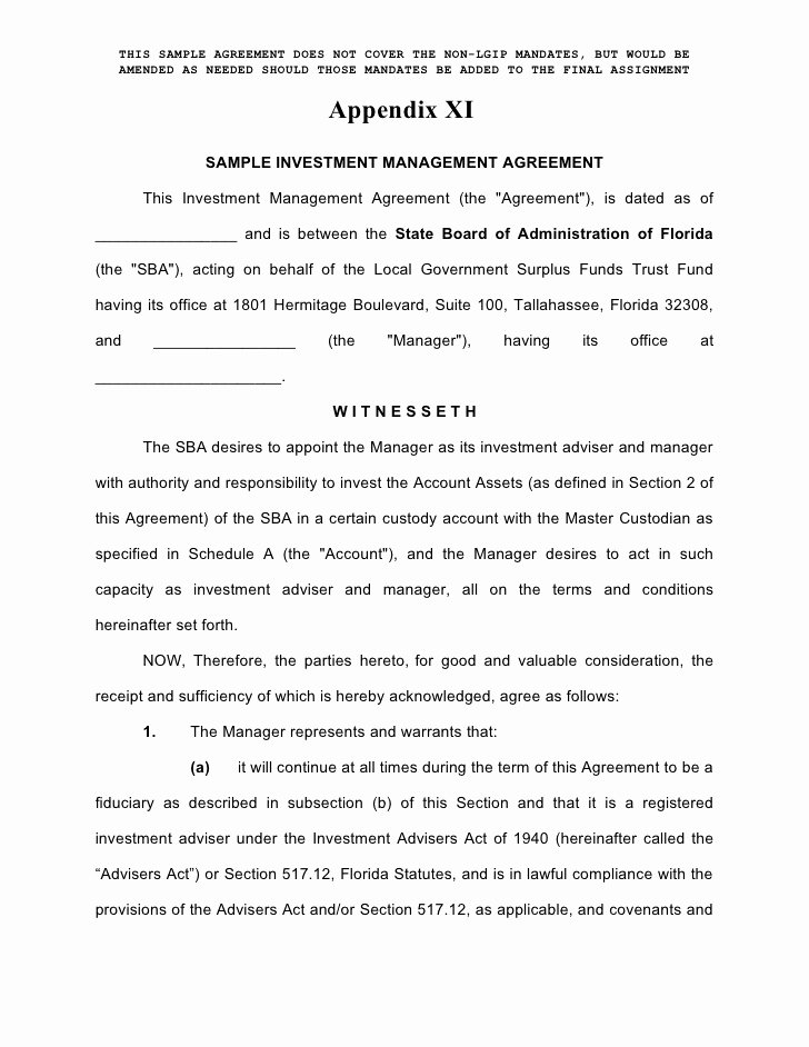 Investment Agreement Template Doc Beautiful Enhanced Cash Investment Management Agreement form