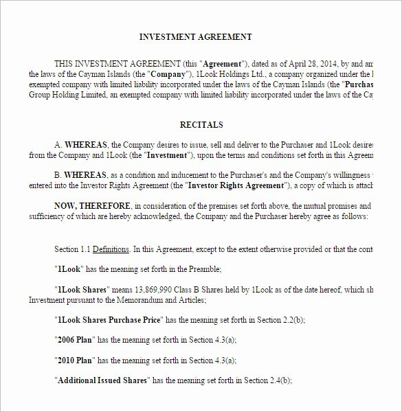 Investment Agreement Template Doc Best Of 11 Venture Capital Investment Agreement Examples Pdf