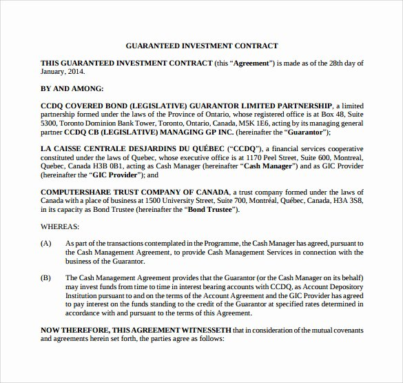 Investment Agreement Template Doc Best Of Investment Contract Template 13 Sample Word Google