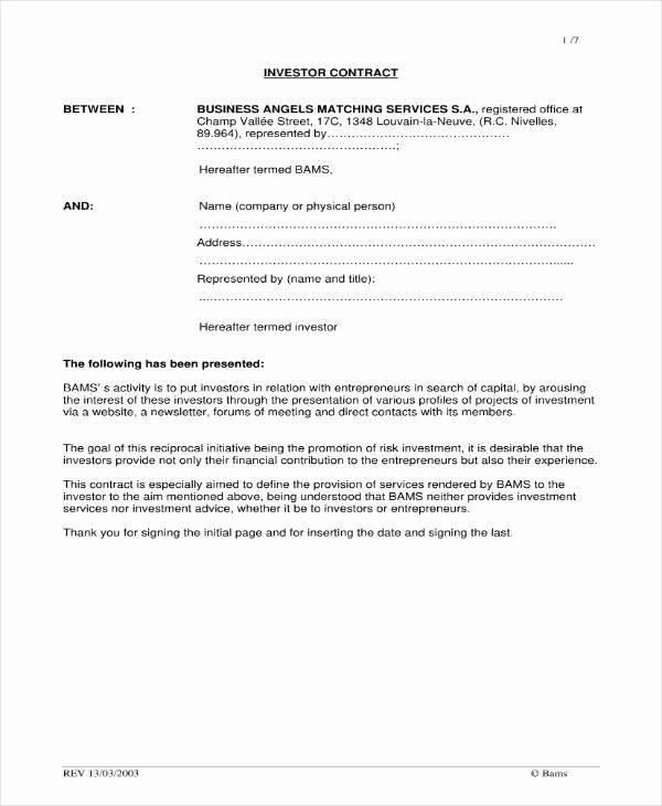 Investment Agreement Template Doc Elegant 6 Small Business Investment Agreement Templates Pdf