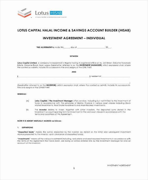 Investment Agreement Template Doc Fresh 19 Simple Investment Agreement Templates Word Pdf