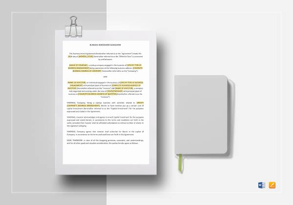 Investment Agreement Template Doc Inspirational 15 Microsoft Word Agreement Templates Free Download