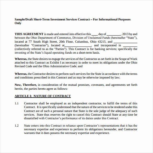 Investment Agreement Template Doc Inspirational Investment Contract Template 13 Sample Word Google