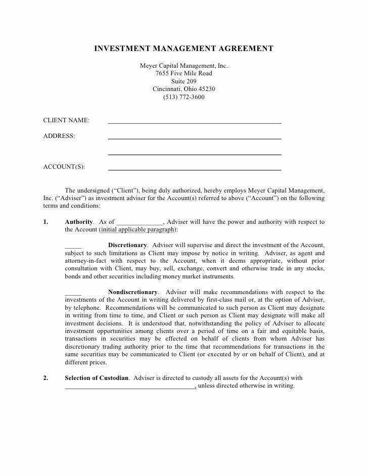 Investment Agreement Template Doc Lovely Investment Management Agreement