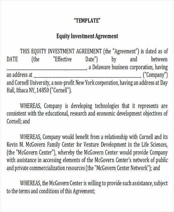 Investment Agreement Template Doc Lovely Sample Investment Contract Agreements 10 Examples In