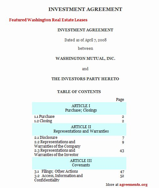 Investment Agreement Template Doc Luxury Investment Agreement Download Word & Pdf Agreements