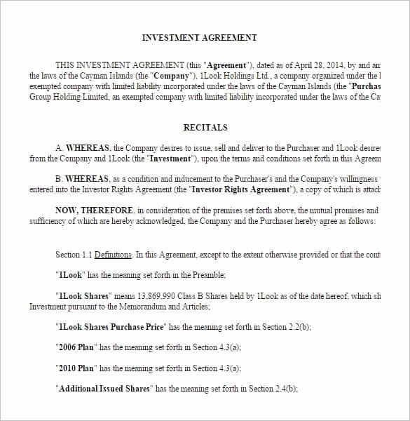 Investment Agreement Template Doc New Investment Contract Templates Find Word Templates