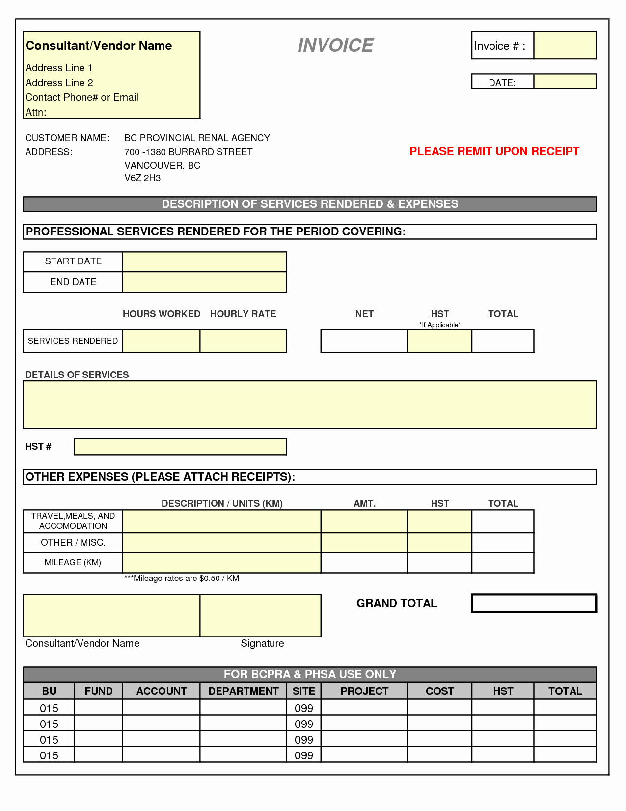 Invoice Template for Consulting Services Lovely Consultant Invoice Template Doc