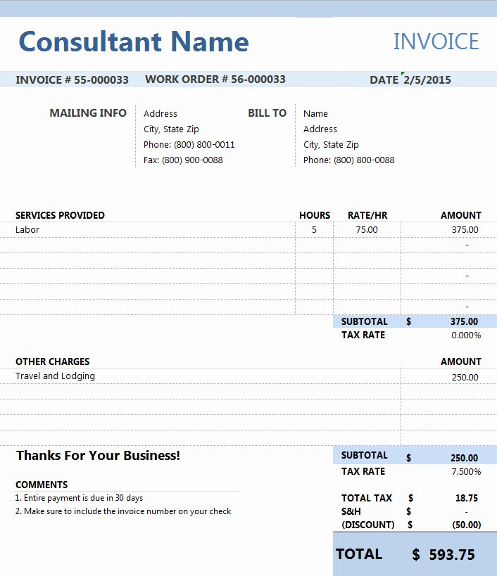 Invoice Template for Consulting Services Luxury Consultant Invoice