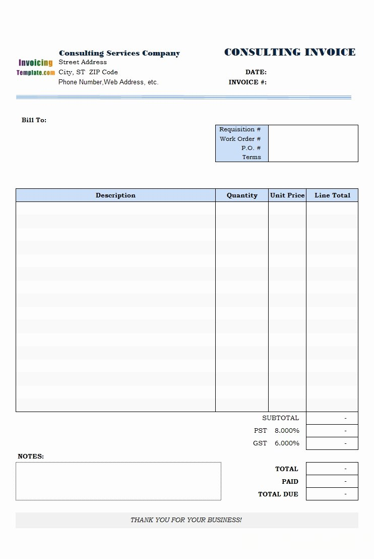 Invoice Template for Consulting Services Unique Free Editable Invoice Template Invoice Template Ideas