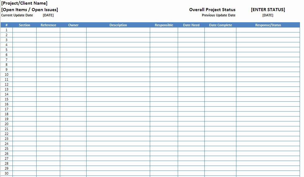 Issue Log Template Excel Awesome Free Excel Open Items Template Download