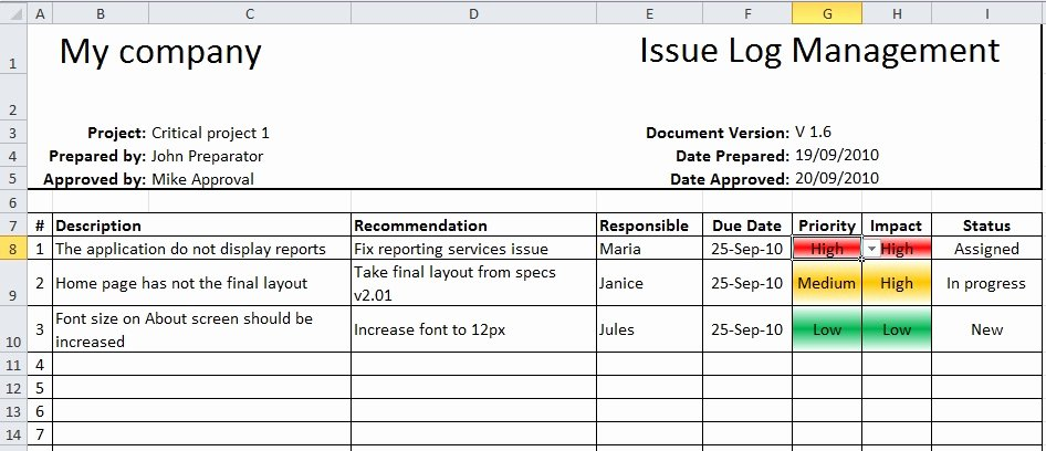 Issue Log Template Excel Beautiful Using Traffic Lights In Project Reporting