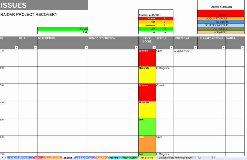 Issue Log Template Excel Best Of Project Crisis Management Dashboard & Log Template