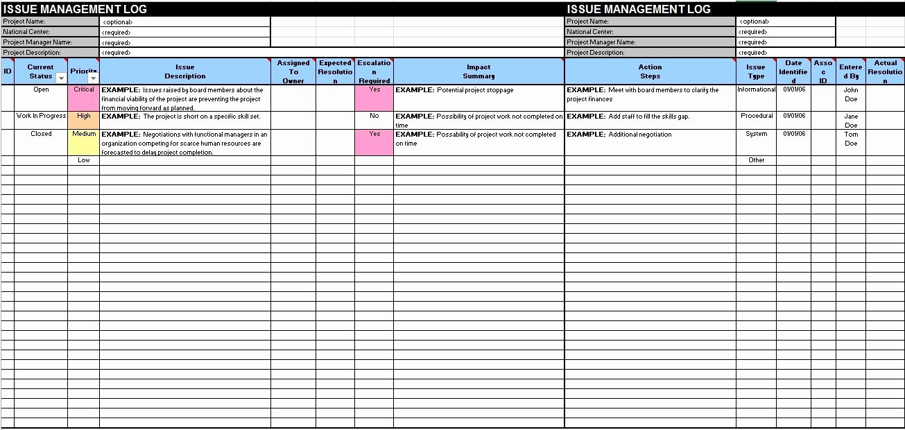 Issue Log Template Excel Fresh Free Sample issue Log Templates Printable Samples