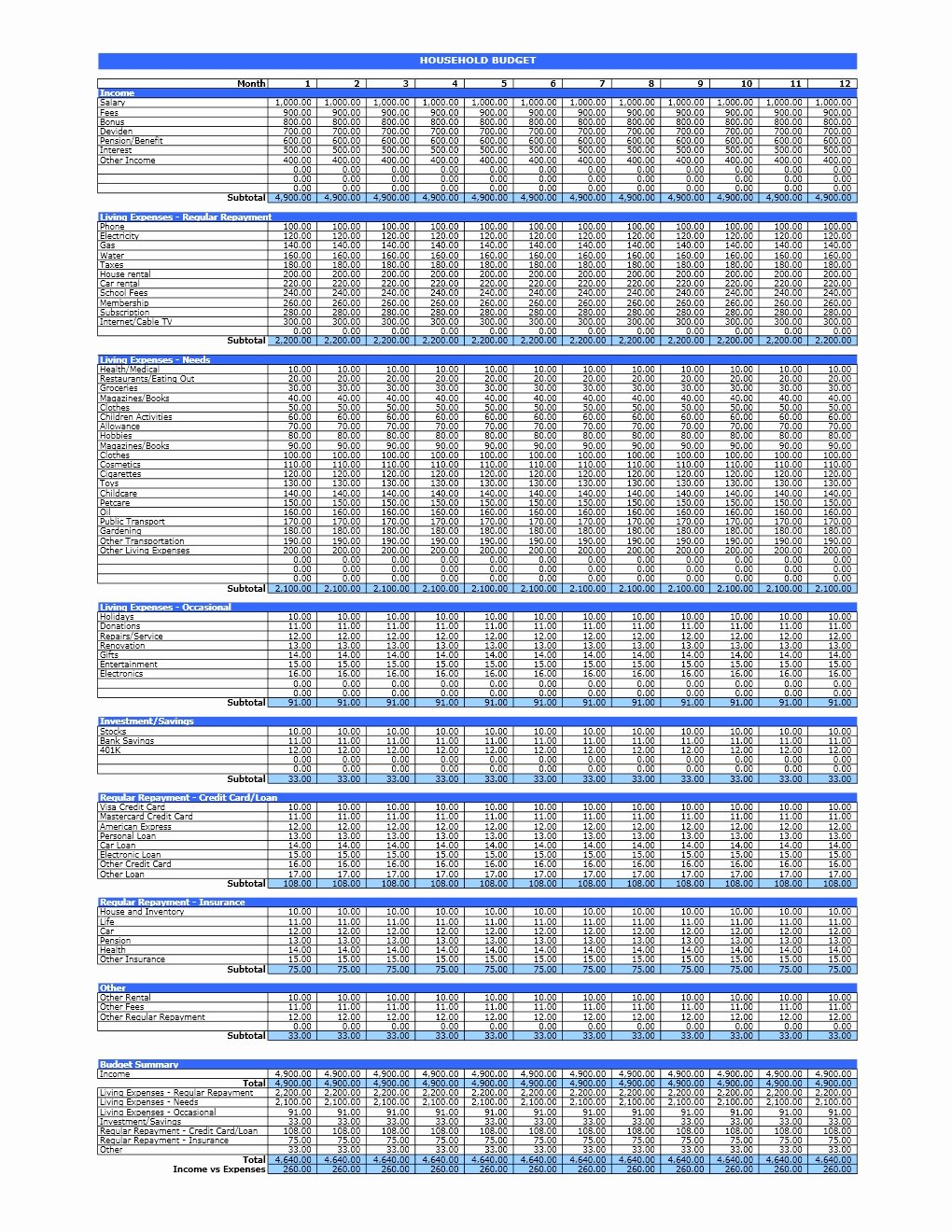 It Budget Template Excel Beautiful Household Bud