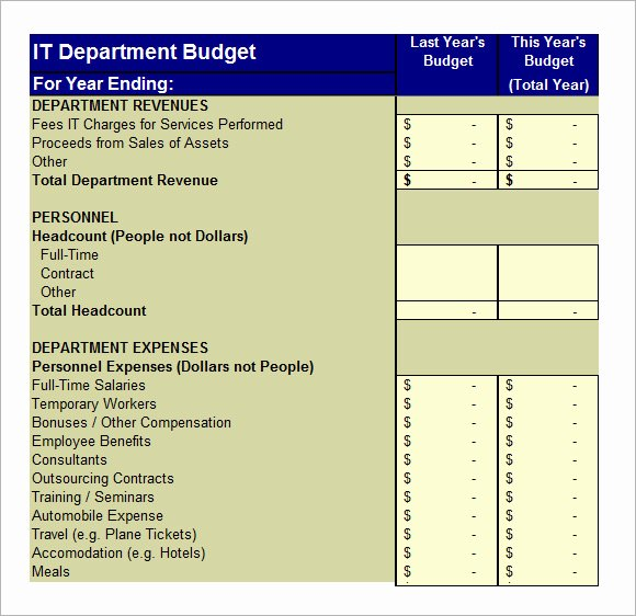 It Budget Template Excel Inspirational It Bud Template – 8 Free Samples Examples format