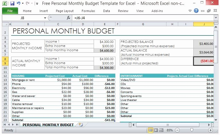 It Budget Template Excel New Free Personal Monthly Bud Template for Excel