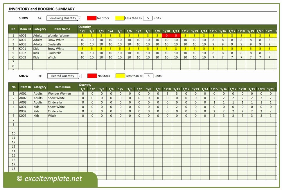 It Inventory Excel Template Best Of Inventory and Booking Manager for Rental Business
