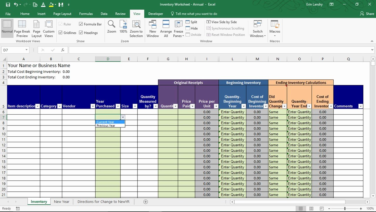 It Inventory Excel Template Luxury End Of Year Inventory Template Calculate Beginning and