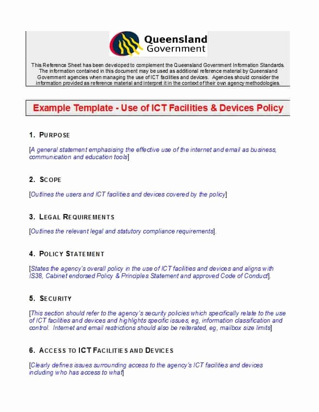It Security Policy Template Awesome 42 Information Security Policy Templates [cyber Security