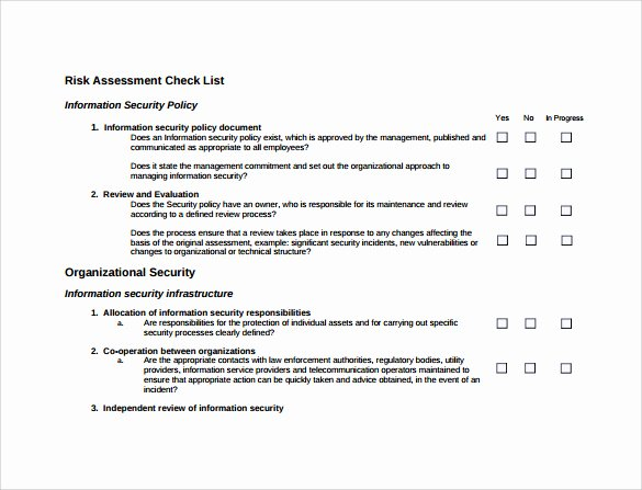 It Security Risk assessment Template Elegant 27 Of Network Security Checklist Template