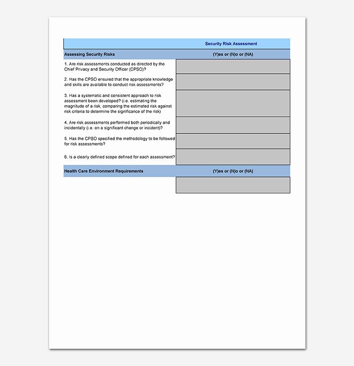 It Security Risk assessment Template Elegant Security assessment Template 18 Word Excel & Pdf format