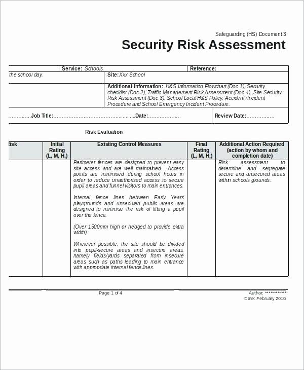 It Security Risk assessment Template Fresh Free Risk assessment Template Pics – It Security Risk