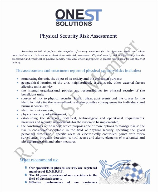 It Security Risk assessment Template Lovely 10 Security Risk assessment Templates Free Samples