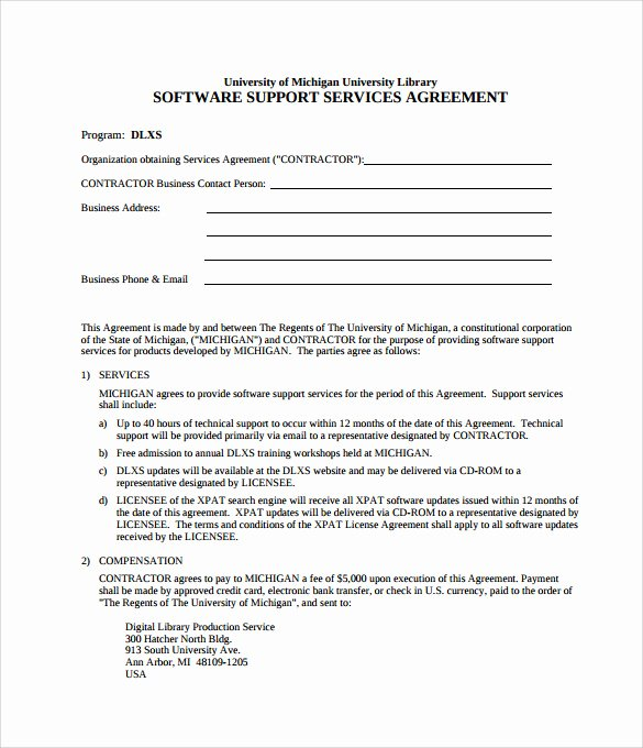 It Support Contract Template Awesome It Support Contract Template 9 Download Documents In