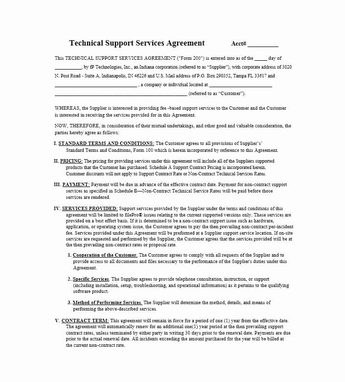 It Support Contract Template Best Of 50 Professional Service Agreement Templates & Contracts