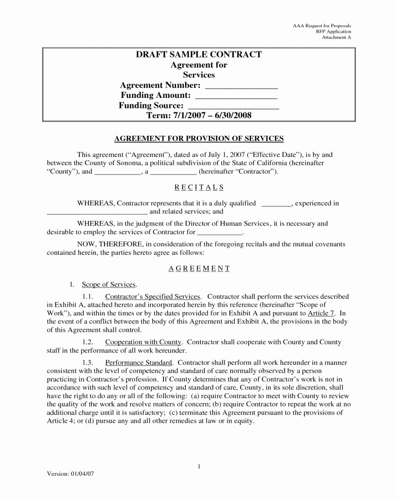 It Support Contract Template Best Of Agreement for Services