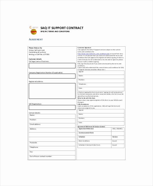 It Support Contract Template Elegant 10 It Contract Templates Google Docs Word Apple Pages