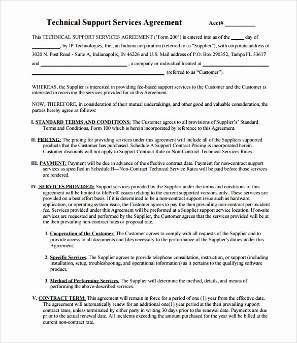 It Support Contract Template Fresh Download Free software Free software Support Contract