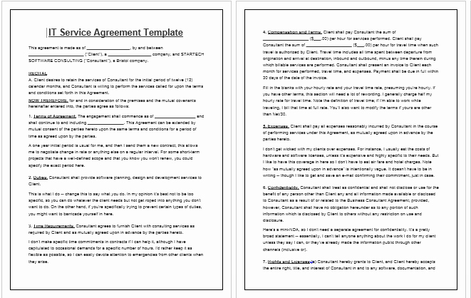 It Support Contract Template Fresh Free Printable It Service Agreement Template form Generic