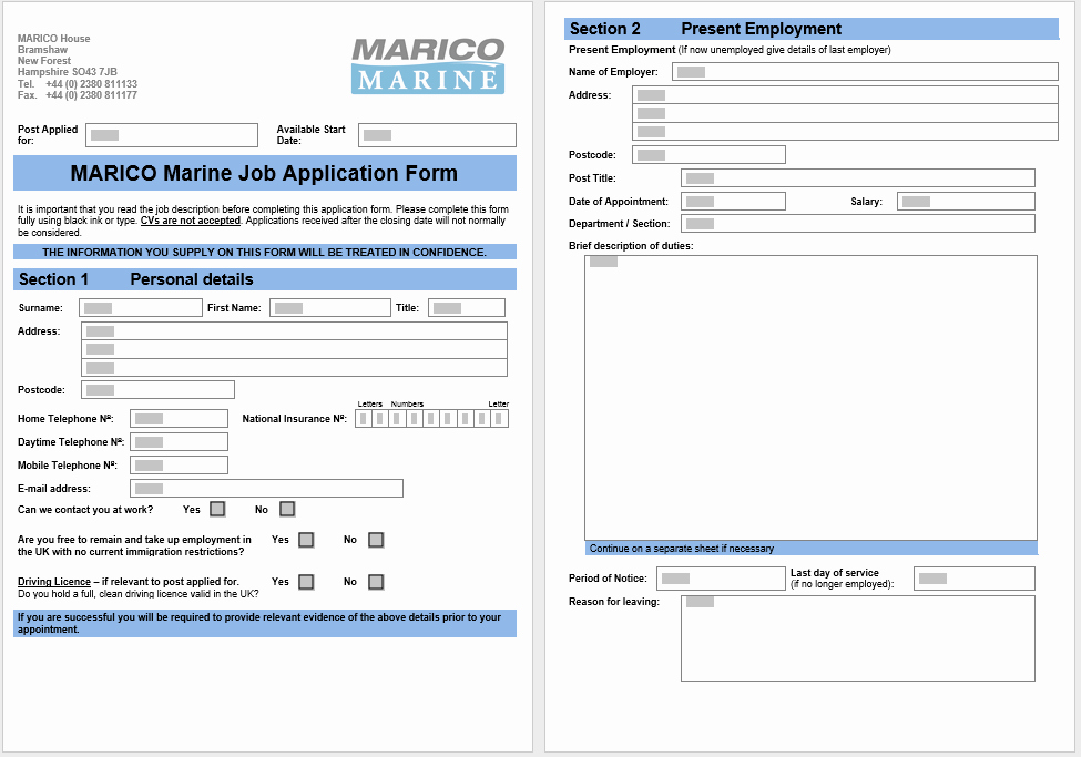 Job Application form Template Word Awesome 4 Printable Free Job Application form & Templates