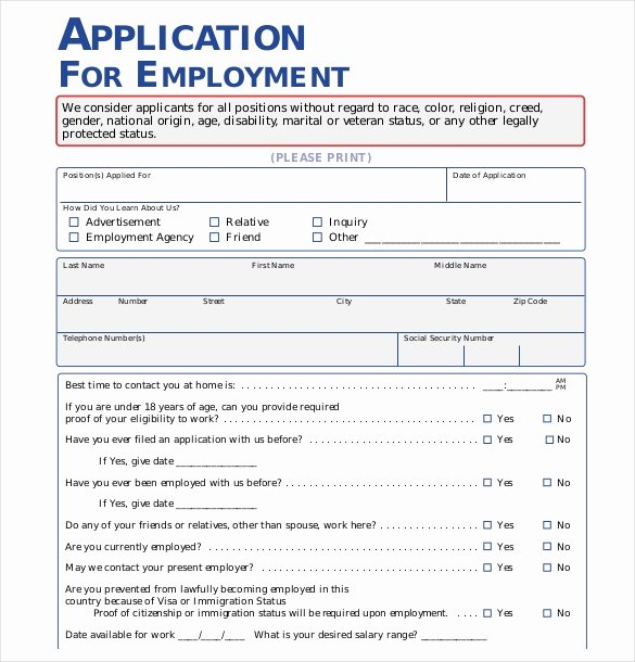 Job Application form Template Word Elegant Application form Templates – 10 Free Word Pdf Documents