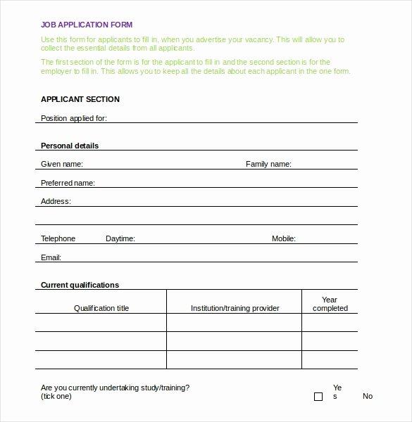 Job Application form Template Word Inspirational Employment Application Templates – 10 Free Word Pdf