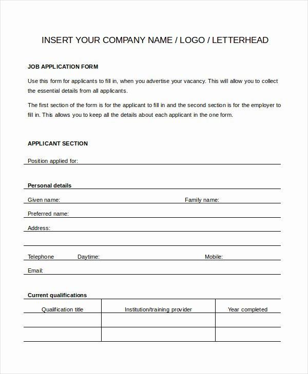 Job Application form Template Word Inspirational Generic Job Application 8 Free Word Pdf Documents