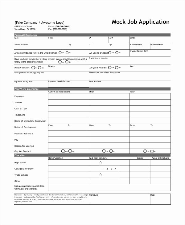 Job Application form Template Word Luxury Sample Job Application form 7 Documents In Word Pdf