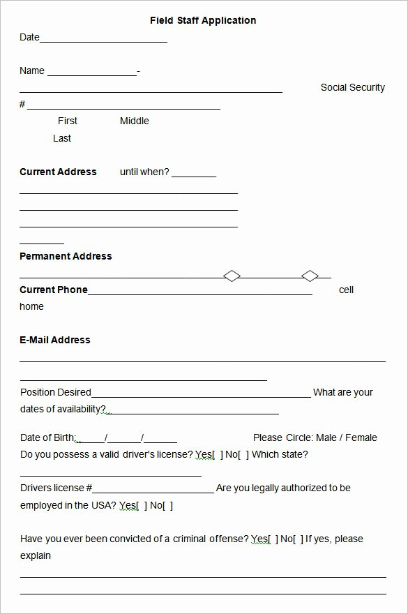 Job Application form Template Word New Employment Application Templates – 10 Free Word Pdf