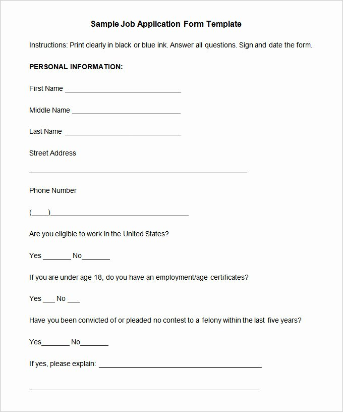 Job Application form Template Word Unique Job Application Template – 10 Free Word Pdf Documents