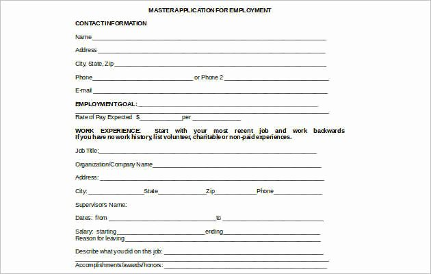 Job Application Template Microsoft Word Fresh Employee Application form Templates