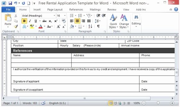 Job Application Template Microsoft Word Inspirational Free Rental Application Template for Word