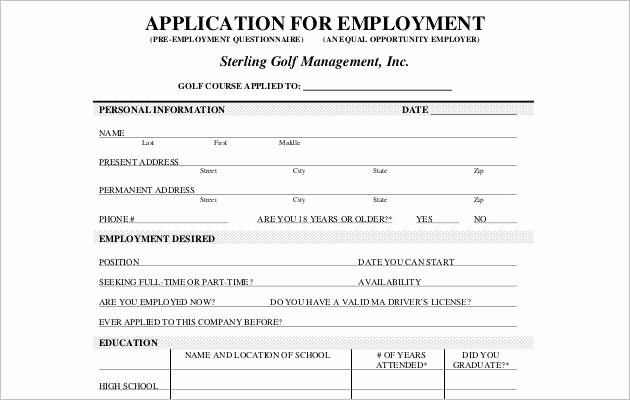Job Application Template Microsoft Word Lovely Employee Application form Templates